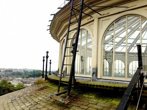Devonshire Dome Ironworks, Buxton - Balustrading stripped down