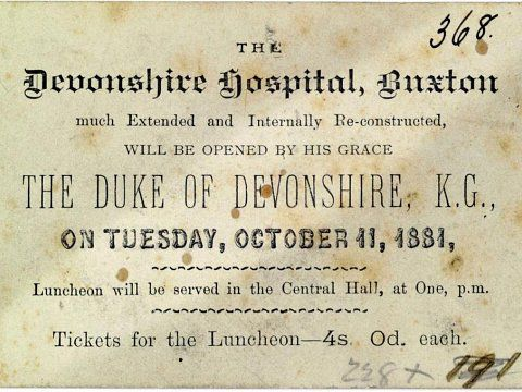 Devonshire Dome Ironworks, Buxton - Ticket to the opening in 1881