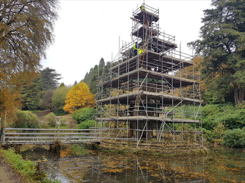 The Pagoda fountain scaffolded and sealed prior our works.