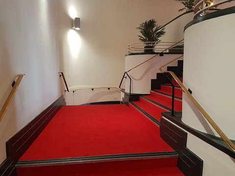 The finished main staircase at Chester's Storyhouse Theatre.