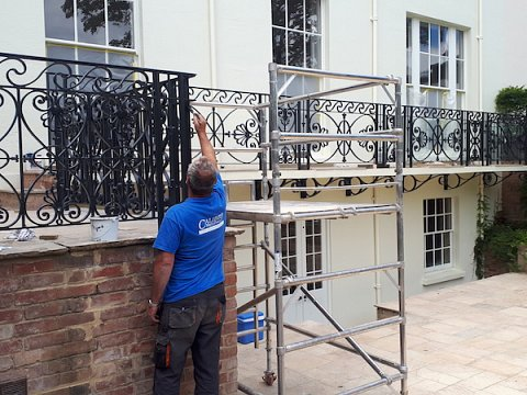 The balustrade was installed  by our own experienced installation team and the factory applied paint system carefully touched in by hand.